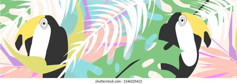 Tropical collage pattern banner in hawaiian style with toucan bird and exotic floral decoration elements. Colorful summer background made in vector