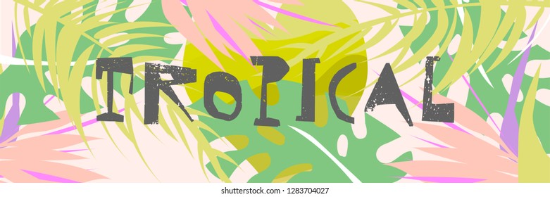 Tropical collage pattern banner in hawaiian style with abstract exotic floral decoration elements. Colorful summer background made in vector
