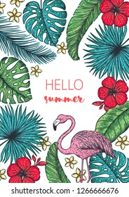 Tropical collection. Tropical design template. Hello summer frame. Flamingo, palm leaves and flowers vector illustration. Summer design