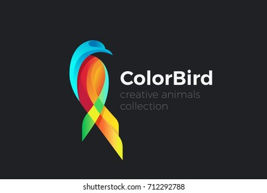 Tropical Colorful sitting Bird abstract Logo design vector template. Multicolor parrot pigeon dove eagle Logotype concept icon.