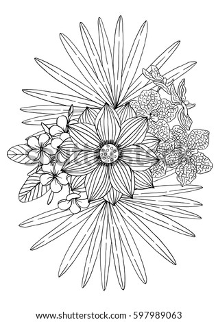 tropical coloring book page flowers palm stock vector royalty free