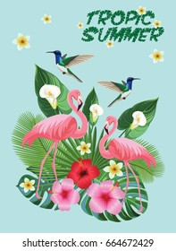 Tropical composition with flamingos and hummingbirds. Vector Postcard.