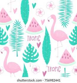Tropical concept with flamingo, palm leaves and watermelon, seamless pattern