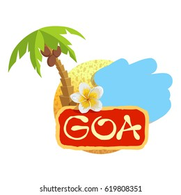 Tropical concept with plumeria flower. Vector illustration icon for Goa traveling.