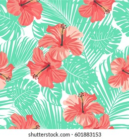 Tropical coral flowers and leaves on black and white background. Seamless. Vector.
