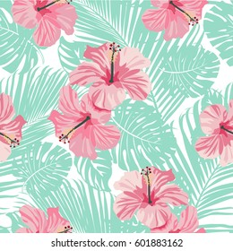 Tropical coral flowers and leaves on vintage background. Seamless. Vector.