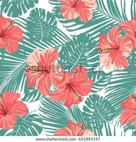Tropical coral flowers leaves on black stock vector royalty free tropical coral flowers and leaves on black and white background seamless vector mightylinksfo