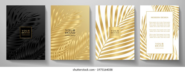 Tropical cover design set with palm branch (golden leaf) print on background. Holiday black and gold exotic pattern for vector wedding card, luxury menu template, summer holiday poster