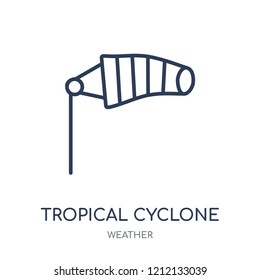 Tropical cyclone icon. Tropical cyclone linear symbol design from Weather collection. Simple outline element vector illustration on white background.