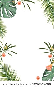 Tropical design border frame template with green jungle palm tree monstera leaves and exotic flowers couple. Text placeholder. Vector design illustration.
