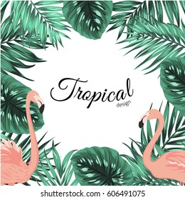 Tropical design border frame template with turquoise green jungle palm tree monstera leaves and pink flamingo birds couple. Text placeholder. Vector design illustration.