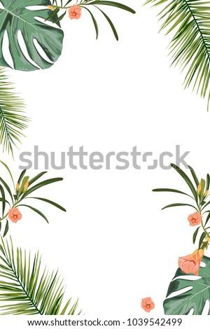 tropical design border frame template green のベクター画像素材