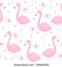 Tropical design with flamingo, seamless pattern, vector stipple