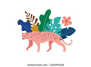 Tropical exotic animals and birds, leopards, tigers, parrots and toucans vector illustration. Wild animals in the jungle, rainforest