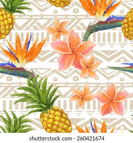 tropical exotic flowers and pineapple on seamless tribal background in vector