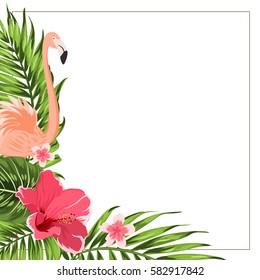 Tropical exotic greenery corner border frame template. Flamingo bird, hibiscus and plumeria flowers, jungle palm tree rain forest composition. Vector design illustration.