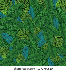 Tropical exotic leaves pattern. Monstera, banana. Jungle background. Vector summer illustration