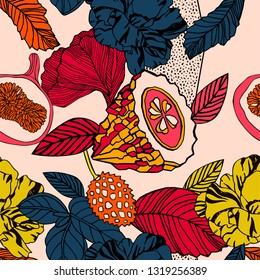 Tropical exotic print, bright fruits and flowers.