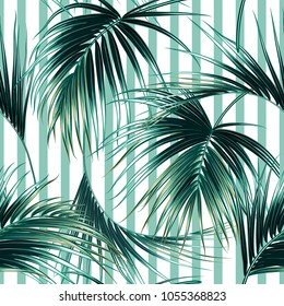 Tropical exotic seamless vector pattern background with palm leaves, jungle leaf. Summer design for fashion, prints, textile. Abstract striped texture
