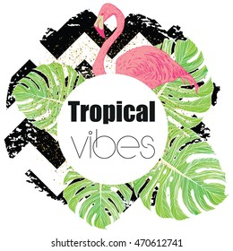 Tropical exotic summer print with palm leaves and flamingo