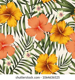 Tropical exotic tender lovely flowers hibiscus pink yellow vintage plumeria color palm leaves green floral summer seamless vector pattern illustration