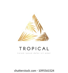 Tropical exotic triangle emblem. Golden palm tree leaves vector logo.