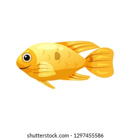 Tropical exotic yellow Boxfish, bright colorful coloring, vector isolated on white background, cartoon style