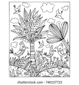 Tropical fairy forest inhabited by different birds. Page for developing children's book or coloring books