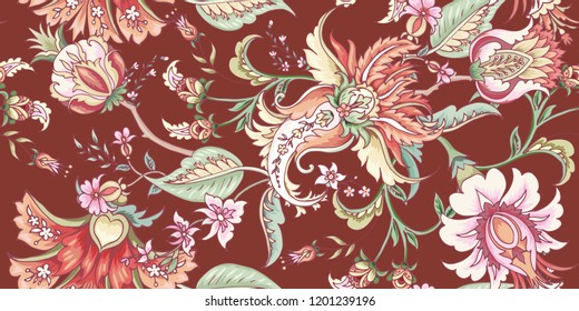 Tropical fantasy floral seamless pattern
