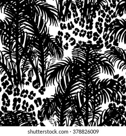 Tropical fashion seamless print with palm leaves and leopard spots. Jungle plant and animal skin. Texture mix for textile, wallpaper and background for different design.