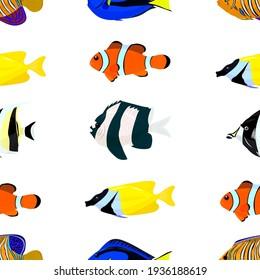 tropical fish, seamless pattern, vector illustration