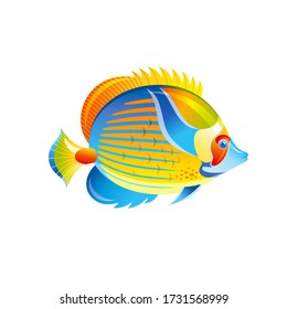 Tropical Fish, vector Angel Butterfly fish. Exotic Coral Reef animal, aquarium or sea blue Angelfish with yellow stripe. 3d cartoon ocean life icon. Isolated white background. Underwater illustration
