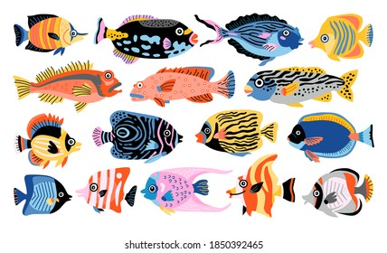 Tropical fish vector set. Isolated cartoon icon aquarium animals. Vector illustration tropical life on white background.