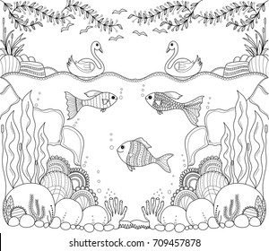Tropical fish zentangle stylized for adult coloring book page.Hand drawn.vector illustration.