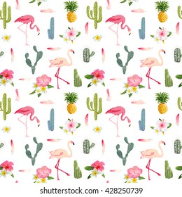 Tropical Flamingo Bird and Cactus Background. Seamless Pattern. Vector