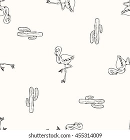 Tropical flamingo and cactus print for t-shirt, apparel, textile or wrapping. Wallpaper with nature and summer elements in black and white. Vector is seamless and repeatable.