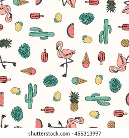 Tropical flamingo print for t-shirt, apparel, textile or wrapping. Wallpaper with nature and summer elements in black, white and various colors. Vector is seamless and repeatable.