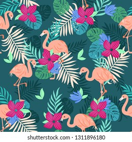 Tropical flamingo seamless pattern, vivid tropic foliage, with monstera leaf, palm leaves, flower in bloom.