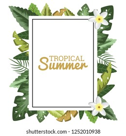 Tropical Floral Border Frame for Greeting Invitation Postcard