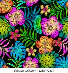 TROPICAL FLORAL EDITABLE VECTOR SEAMLESS PATTERN COLORFUL HIBISCUS AND LEAVES