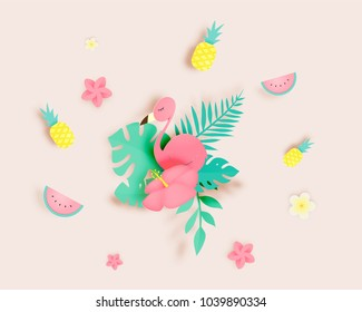 Tropical floral with flamingo in paper art style and pastel color scheme background vector illustration