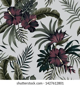 Tropical floral foliage dark green palm leaves, strelitzia, hibiscus flower seamless pattern grey background. Exotic jungle wallpaper.