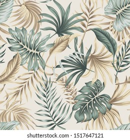 Tropical floral foliage palm leaves seamless pattern beige background. Exotic jungle wallpaper. - Shutterstock ID 1517647121