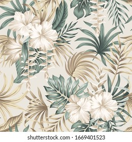 Tropical floral foliage palm leaves, hibiscus flower seamless pattern beige background. Exotic jungle wallpaper. - Shutterstock ID 1669401523