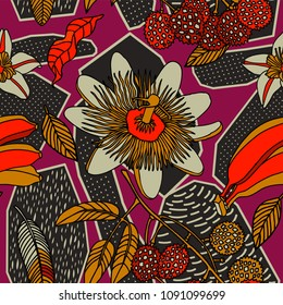 Tropical floral pattern in doodle style with flowers and fruits. Gentle, exotic floral background.
