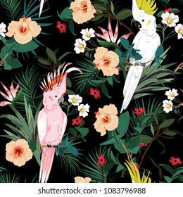 Tropical floral print. Parrot bird in the jungle and flowers in the dark exotic forest  allover design, seamless pattern vector for fashion ,wallpaoer and all prints on black
