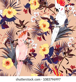 Tropical floral print. Parrot bird in the jungle and flowers in the summer exotic forest  allover design, seamless pattern vector for fashion ,wallpaoer and all prints on pink