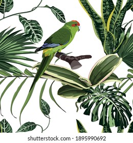 Tropical floral print. Parrot bird in the jungle in the exotic forest, seamless pattern for fashion, wallpaoer and all prints on vintage white backdrop.