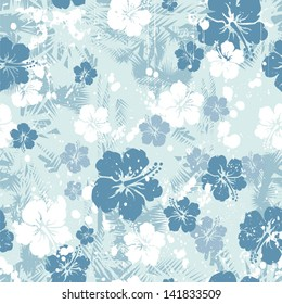 Tropical floral seamless distressed-EPS 8