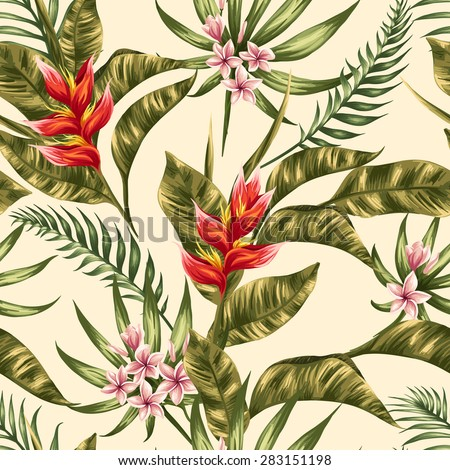 Tropical Floral Seamless Pattern Plumeria Hibiscus Stock Vector